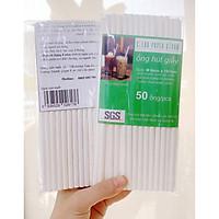 5 túi ( 50 ống/ túi) hút giấy cao cấp -  Clean Paper Straw  6mm x 197mm dùng cho cà phê, nước ép....