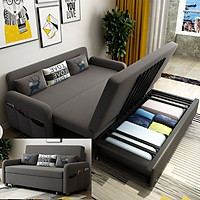 Ghế sofa giường A267 kích thước rộng 160cm dài 192cm cao 38cm (Tặng 3 gối êm ái), có ngăn chứa đồ phía dưới, khung thép cao cấp, đệm cao su nhập khẩu, ghế sofa kéo thành giường ngủ, giường gấp gọn thành ghế