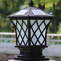 Đèn trụ cổng năng lượng mặt trời hình lưới đen, để ngoài trời, chịu mưa nắng, trang trí sân vườn HT511