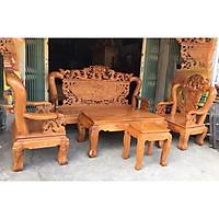 Bộ bàn ghế phòng khách - salon gỗ gõ đỏ trạm rồng tay 10