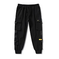 Men Cargo Harem Pants Fashion Ribbons Multi Pockets Solid Color Loose Casual Sports Trousers