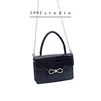 Túi xách nữ 1992 s t u d i o/ ANILY BAG/ màu đen da vân bóng phối nơ đính đá