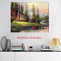 Tranh treo tường trang trí tự tô màu theo số phong cảnh ngôi nhà nhỏ trong rừng PC4256
