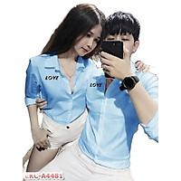Áo sơ mi cặp đôi nam nữ hot trend xu hướng tình yêu Hàn Quốc-giá 1 áo