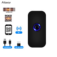 Aibecy Handheld 3-in-1 Barcode Scanner 1D/2D/QR Bar Code Reader Support BT & 2.4G Wireless & USB Wired Connection
