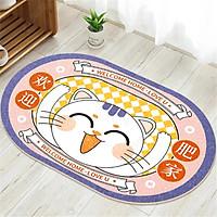 Thảm Nhà Bếp Mèo Thần Tài Vẫy Tay Maneki Neko Lau Chùi Chân Chống Trơn Trượt 50x80cm