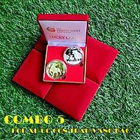 Combo 5 hộp nhung đựng xu con Trâu Úc màu vàng và bạc, vật phẩm phong thủy cầu may mắn, dùng trưng bày bàn sách, mang theo trong túi, làm quà tặng, tiền lì xì - TMT Collection - SP005120