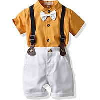 0-4Y Lapel Cotton Summer Casual Baby Boy Set Gentleman Shirt With Bow Tie And Suspender Pants Kit Kids Overalls