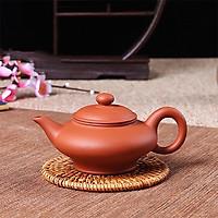 Ấm trà tử sa Nghi Hưng tiêu chuẩn dáng bè vòi cong phụ kiện bàn trà trà đạo