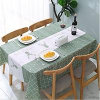Khăn trải bàn PEVA cao cấp Xanh tuần lộc (137x 152cm)  không thấm nước, chống thấm dầu siêu tiện ích - trang trí nội thất