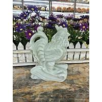 Tượng con gà giáp phong thủy đá cẩm thạch trắng xanh trang trí bàn làm việc
