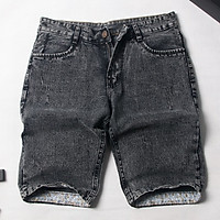 Quần short jean nam màu đen wash thời trang