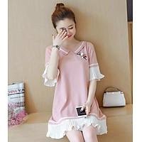 Đầm bầu công sở váy bầu công sở đầm suông đầm oversize đầm fom rộng bèo trắng thời trang Hàn Quốc dona21072201