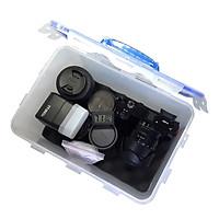 Combo hộp chống ẩm có tay cầm và ẩm kế, 100gram hạt hút ẩm xanh cho máy ảnh, máy quay phim - dung tích 7.7 lít (tặng mút xốp lót hộp)