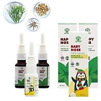 Combo xịt mũi bảo vệ sức khỏe cho cả gia đình. 2 Happy Nose cho ba mẹ và Baby Nose cho bé. Dứt điểm viêm xoang nhẹ và mãn tính. Nguồn gốc tự nhiên, an toàn tuyệt đối