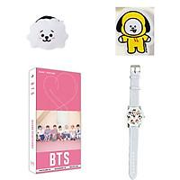 Combo 4 món đồ BTS gồm postcard dây buộc tóc tẩy BTS chibi đồng hồ đeo tay