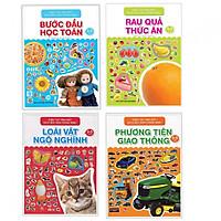 Combo khéo tay tinh mắt sách bóc dán thông minh : Bước đầu học toán + Rau quả thức ăn + Loài vật ngộ nghĩnh + Phương tiện giao thông - Tặng kèm bookmark thiết kế