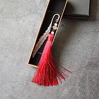 Bookmark Lông vũ kim loại gắn tua rua kèm hộp - Rượu vang đỏ