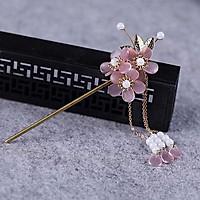 Trâm cài tóc nữ cổ trang hồng trong 3 bông cosplay phong cách Trung Quốc