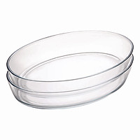 Combo 2 Khay Thủy Tinh Oval Fornoverre 30cm x 20cm (1.7L)