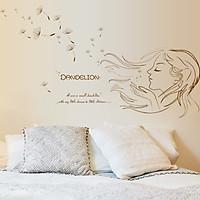 Decal dán tường Cô gái và hoa bồ công anh trang trí phòng khách,phòng ngủ đẹp