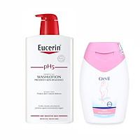Sữa tắm dạng gel pH5, cho da nhạy cảm (có mùi) Eucerin pH5 Washlotion 1000ml + Tặng 1 dung dịch vệ sinh