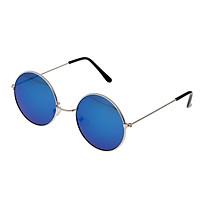 Round Frame Sunglasses Color Film Metal Reflective Sun Glasses Men Mirror Black