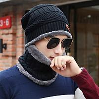 Mũ len kèm khăn lót nỉ siêu ấm, mũ len nam, mũ len nữ dễ thương