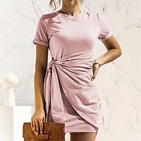 Fashion Women Solid Color Dress O Neck Short Sleeve Bandage Casual Mini Dress