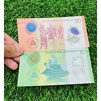 02 tờ tiền Nicaragua 10 20 Cordobas, bằng polyme, hình ảnh vũ công, mới 100% UNC, tặng túi nilon bảo quản The Merrick Mint
