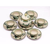 Bộ bình trà ( Ấm Chén) men bóng quả hồng lá tre kiểu  MNV-BT261-3