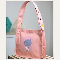 Túi tote đeo chéo vải canvas phom bầu dây quai liền phối 3 hạt nút thời trang COVI nhiều màu sắc T21