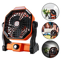 Outdoor Camping Fan with LED Light Portable Fan Rechargeable 10000mAh Battery Operated Powered Fan Personal USB Desk Fan for Travel, Bedroom, Home
