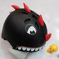 Mũ Bảo Hiểm Trẻ Em Dinosaur Đen có sừng + Tặng kèm thú nhún Emoji siêu ciu cho bé