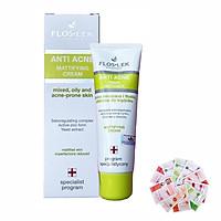 Kem kiểm soát dầu và điều tiết nhờn se khít lỗ chân lông, giảm thâm và dưỡng ẩm sau mụn Floslek Anti Acne Mattifying Cream 50ml + Tặng 1 mặt nạ Dermal bất kì