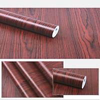 Combo 10m giấy dán tường giả gỗ nâu đậm có keo sẵn.
