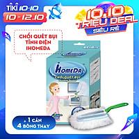 Chổi quét bụi tĩnh điện Ihomeda ( 1 cán + 4 bông lau) - iHomeda Static Dusting Duster ( 1 Mop + 4 Cleaning Dry Cottons )
