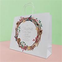 Túi giấy Kraft Trắng Noel Xmas- Size 36 x 30.5 x 12cm [COMBO 10 cái] Mã XMAS07T