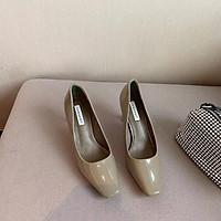 Giày cao gót nữ thời trang da bóng mũi vuông gót nhọn xuất dư {Mã 8331} , sz 35-38 .Thóc Store