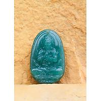Mặt Dây chuyền Phật Như Lai Đại Nhật,  cho  tuổi Thân, Mệnh Hỏa, Đá Thạch Anh Xanh, Cỡ to TEN2