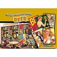 Decal Dán Tường Siêu Bền Chống Bay Màu Trang Trí Phòng Ngủ , Quán Baber , Cafe ... Decal Chủ Đề Beer