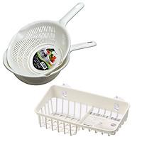 Combo bộ rổ và thau nhựa 1.2L có tay cầm màu trắng + giá để giẻ rửa bát 2 ngăn dạng lưới màu trắng Inomata nội địa Nhật Bản