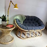 Bộ ghế papasan đôi - NAVICOM ( Nệm vải bố canvas xám)