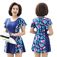You swimwear female conservative mother models middle and old people were thin covered belly large size one-piece with sleeves spa set 18372 blue XL