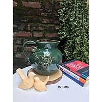Lọ hoa dáng bình rót sữa men xanh ngọc đắp nổi gốm sứ Bát Tràng (H21cm)