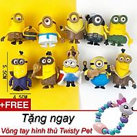 Bộ 10 mô hình Minion trang trí bàn học tặng kèm vòng tay biến hình thú Twisty Petz xinh xắn