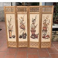 bình phong khung gỗ mẫu mới nền mành tranh tứ bình tứ quý 180x200 AT008