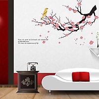 Decal dán tường hoa đào - chim họa my hót không gian tươi vui sang trọng