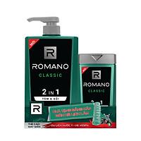 Combo Tắm gội 2 trong 1 Romano Classic cổ điển lịch lãm nhanh chóng tiện dụng 650gr & Tắm gội Classic 150g