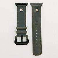 Dây đeo cho Apple Watch hiệu CAMYSE Leather Vintage Buttoning 3 - hàng nhập khẩu